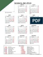 Calendario Del 2014