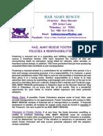 Final Hmr Policies & Foster Volunteer Application