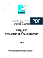 Checklist for Specifiers and Contractors - Sprayed Concrete