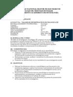 CAEC SILABO Taller Investigacion Sociologia III 2014 Marzo Julio