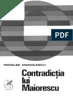 MANOLESCU Nicolae Contradictia Lui Maiorescu