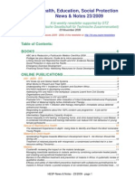 Health, Education, Social Protection News & Notes 23/2009
