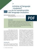 ¿Discrimina el lenguaje a las mujeres? Hacia la construcción del lenguaje inclusivo (Beatriz Méndez Guerrero, 2012, Revista Esdrújula, 1, 1-5)