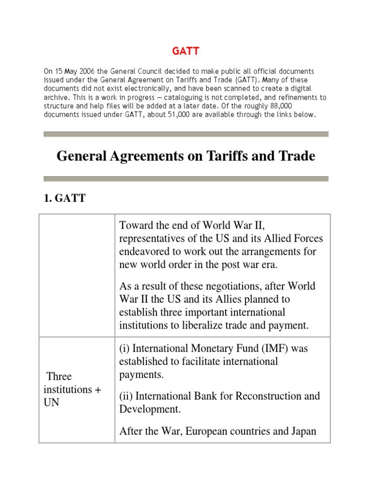 Gatt General Agreement On Tariffs And Trade World Trade Organization