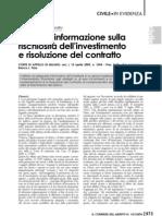 Omessa informazione rischiosità (Corr. mer., 2009)