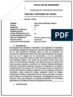 Carta Descriptiva Int. Legislacion Laboral y Cial