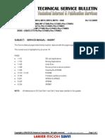 Technical Service Bulletin Gestetner Mp-c6000_lanier-Ld275c_ricoh-Pro c550ex_savin-Pro c700ex