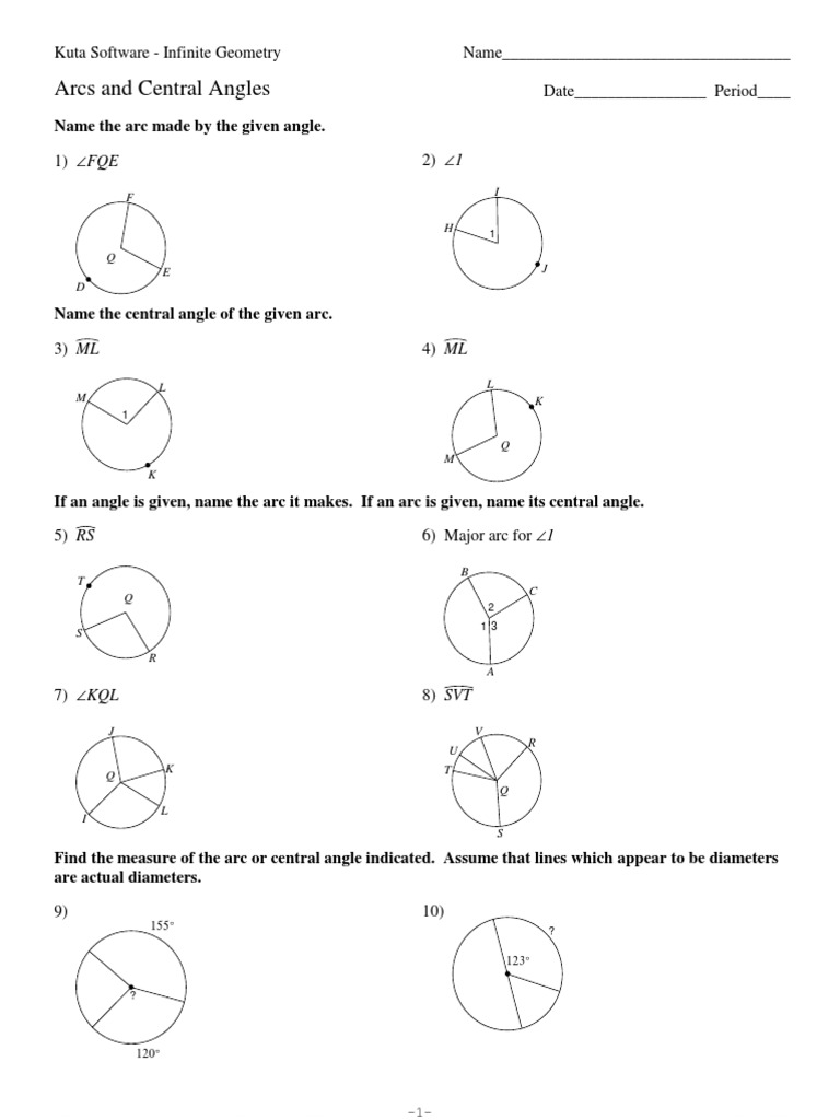 11Arcs and Central Angles Angle – Central Angles Worksheet
