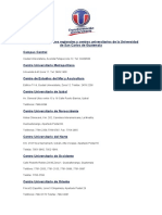 Ubicaciones de Centros Regionales y Centros Universitarios de La Universidad de San Carlos de Guatemala