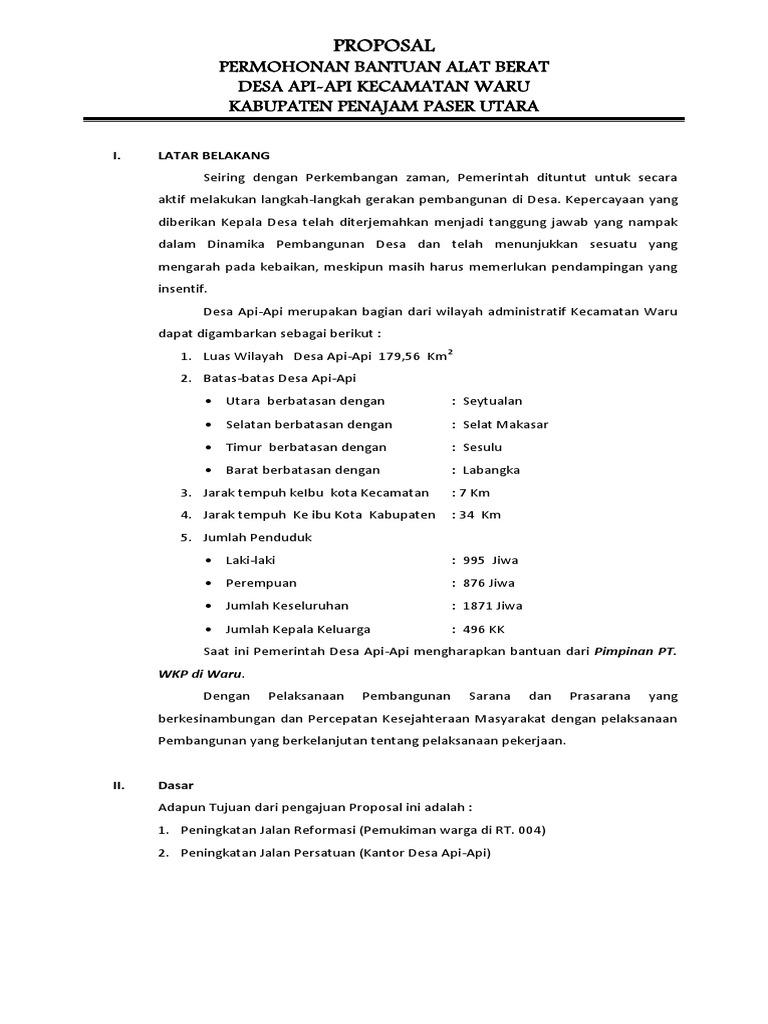 Proposal Permohonan Alat Berat