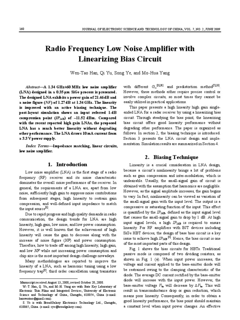 Radio Frequency Low Noise Amplifier With Linearizing Bias Circuit 13 Input Signal Amplifiercircuit 049 108 Ok Transistor