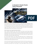 Revolusi Islam Suriah & TandaTanda Tegaknya Khilafah Rasyidah