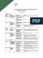 Draft Program - Australia New Zealand Workshop on Campaign Management and Political Marketing