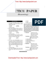 IBPS Common Written Examination Clerical Cadre Practice Paper Reasoning 2011