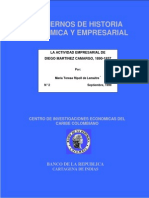 La Actividad Empresarial de Diego Martinez Camargo 1980-1937