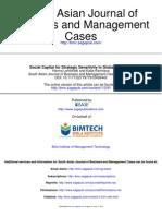 Social Capital for Strategic Sensitivity in Global Business