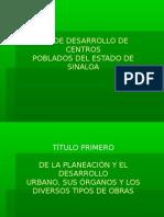 Ley de Desarrollo de Centros Poblados Del Estado de Sinaloa