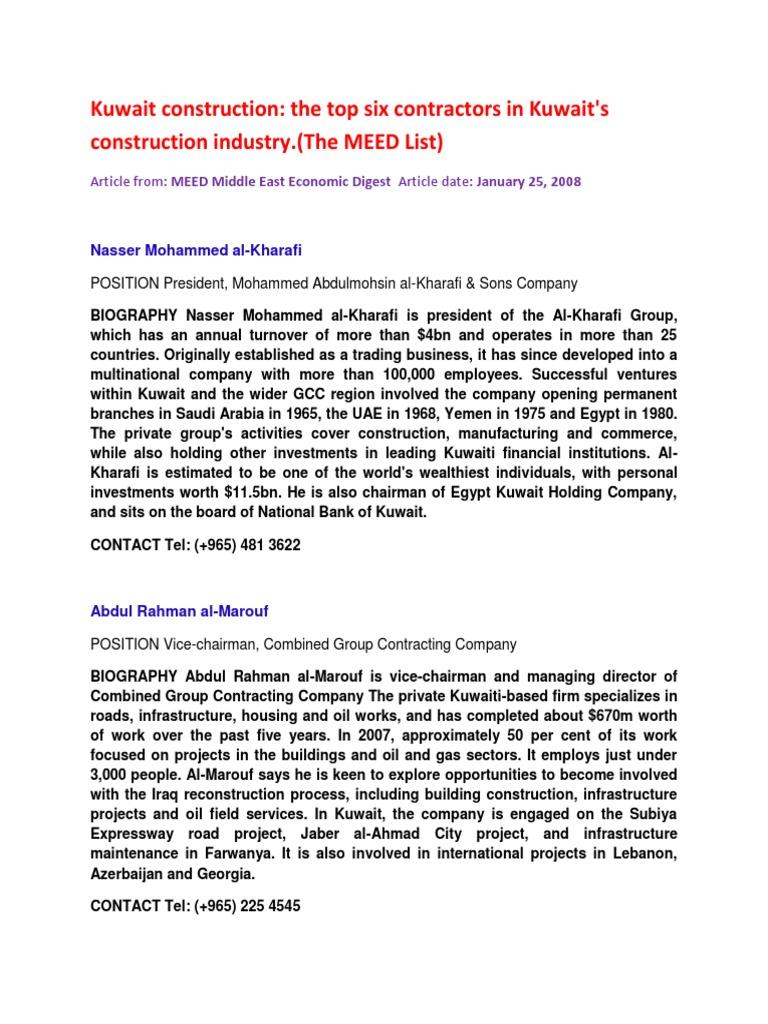 Kuwait Construction - The Top Six Contractors | Kuwait | Economies
