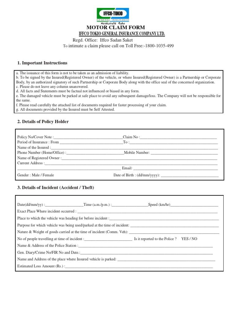 Motor Claim Form | Insurance | Invoice