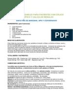 Recetas saludables para pacientes con cólico nefrítico y cálculos renales (COFM)