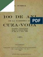 100 de ani de la nasterea lui Cuza Voda, de Nicolae Iorga
