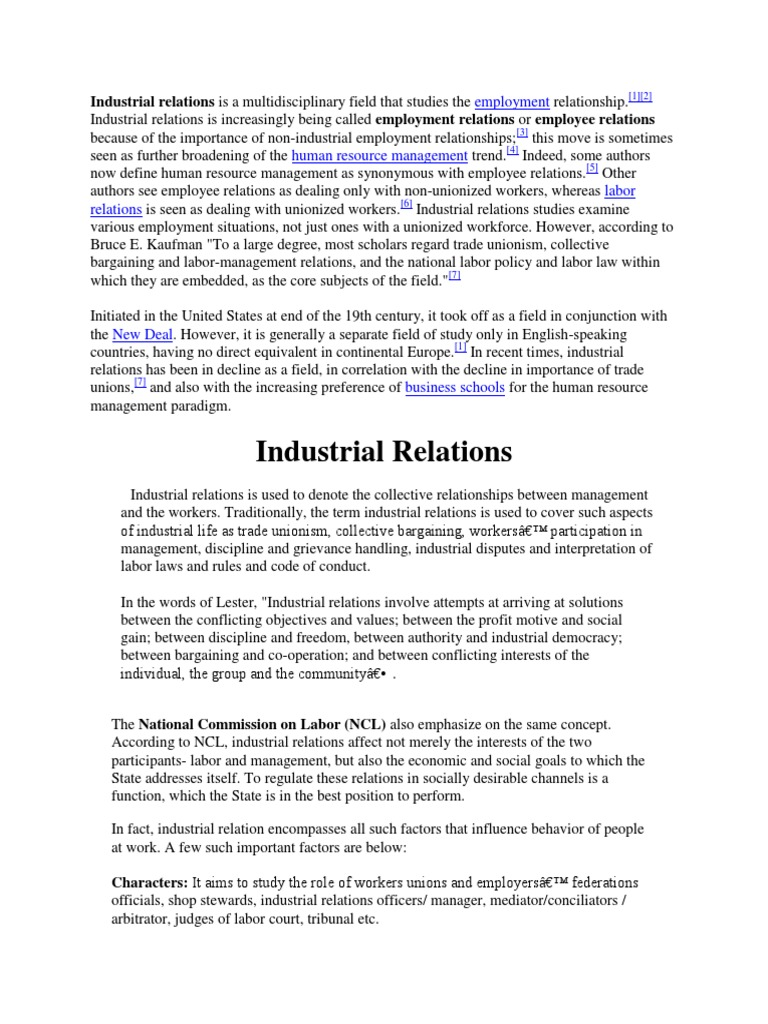 concepts and values in industrial relations