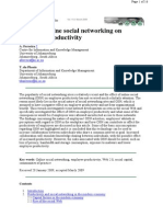 Effect of Social Networking on Productivity