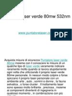 Puntatore Laser Verde 80mw 532nm