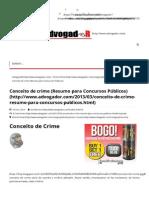 Conceito de Crime (Resumo Para Concursos Públicos) _ AdvogadoR