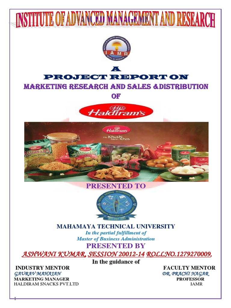 marketing mix of haldiram Summer internship project report on effectiveness of marketing mix of haldiram foods international limited ± a retailers view by krutika khadgi a0101910139 mba- class of 2012 under the supervision of.