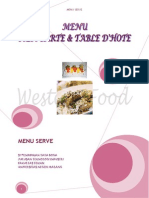 Menu Ala Carte Dan Table d'Hote