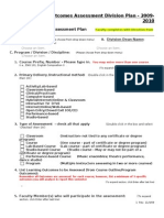 Outcomes Assessment Division Plan (Section I)-Aka Faculty Form 1