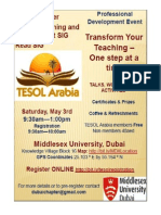 TESOL Arabia PD Event May 3rd at MDX