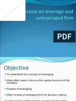 Discussion on Leverage and Unleveraged Firm