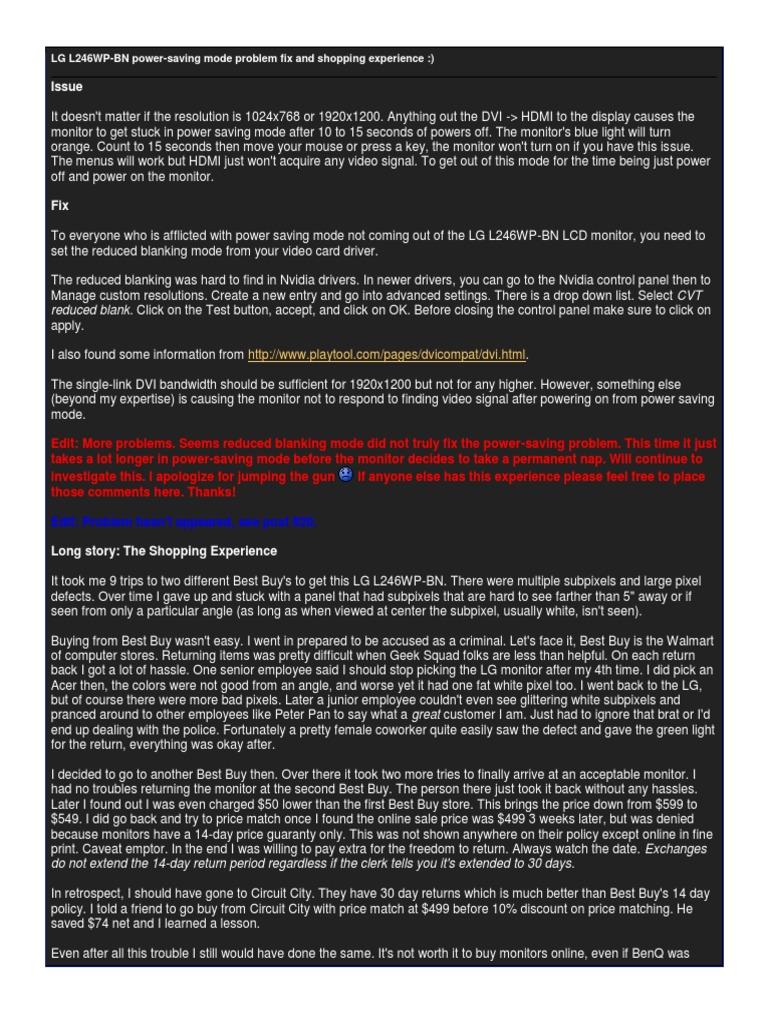 LG L246WP Blanking Adjustment | Video | Display Resolution