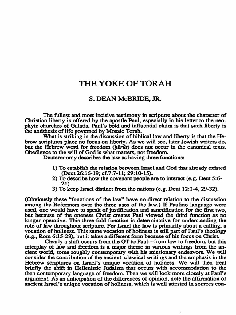 freedom and the yoke of the torah! | torah | paul the apostle