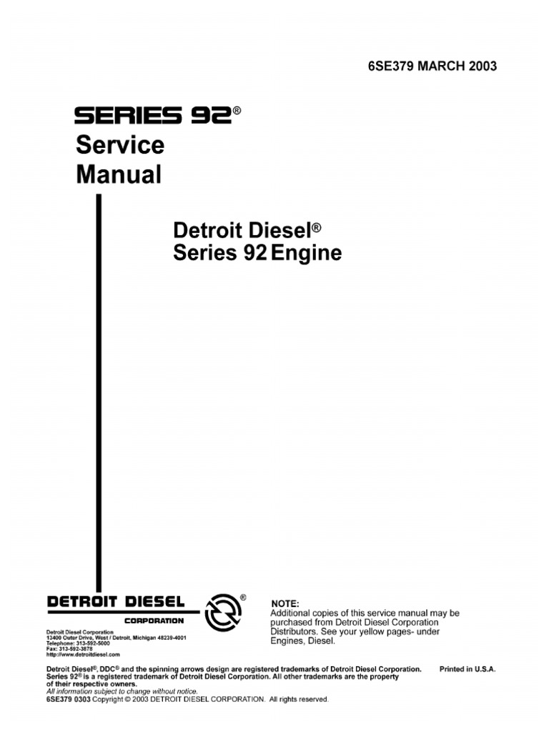 Detroit 6v92 Wiring Diagram Origin Diesel Engine Series 6se379 March2003 Internal Combustion Specifications