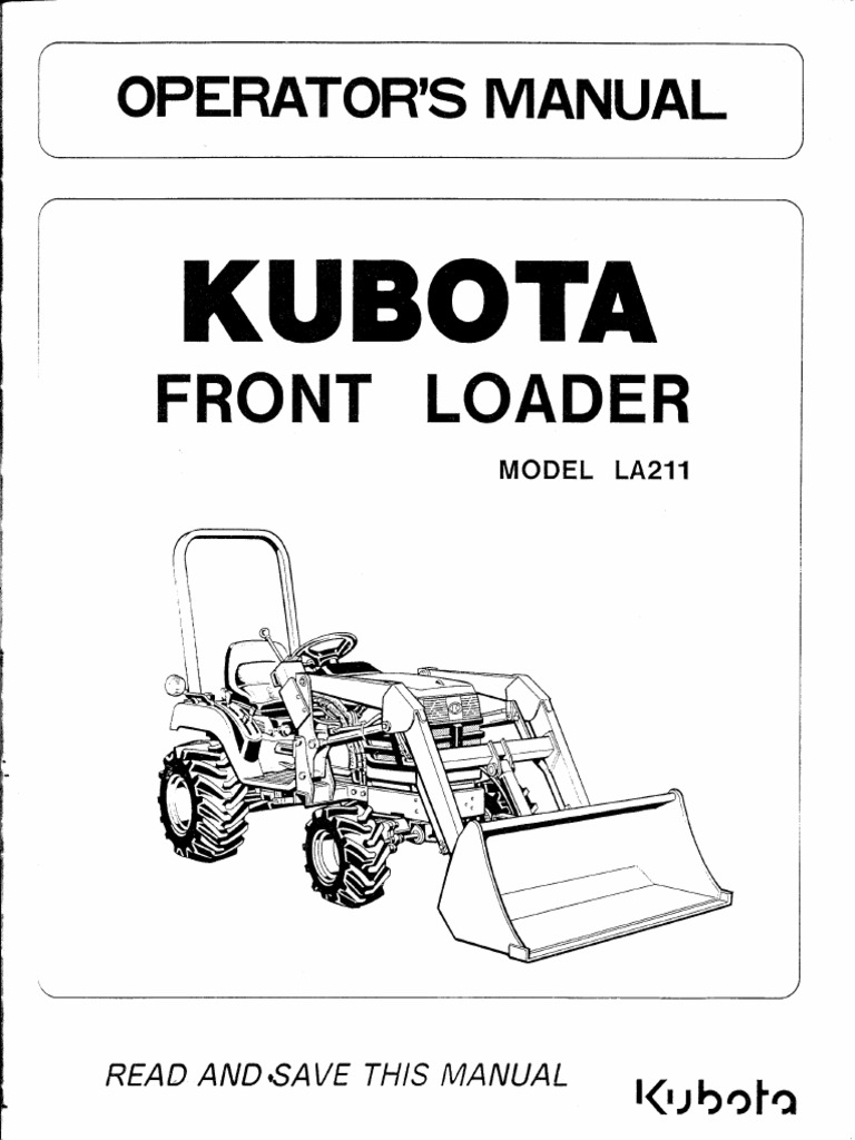 kubota front loader la 211 loader equipment tractor rh es scribd com Kubota Schematics Kubota Schematics