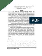 Perumusan Kebijakan Dukungan Pemerintah Untuk Penyediaan Infrastruktur Daerah Yang Dikerjasamakan Melalui Pola Kerjasama