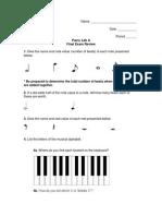 Piano Lab a - Semester 1 Final Exam Review