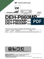 Pioneer Deh p860mp,Deh p8600mp,Deh p8650mp Sm