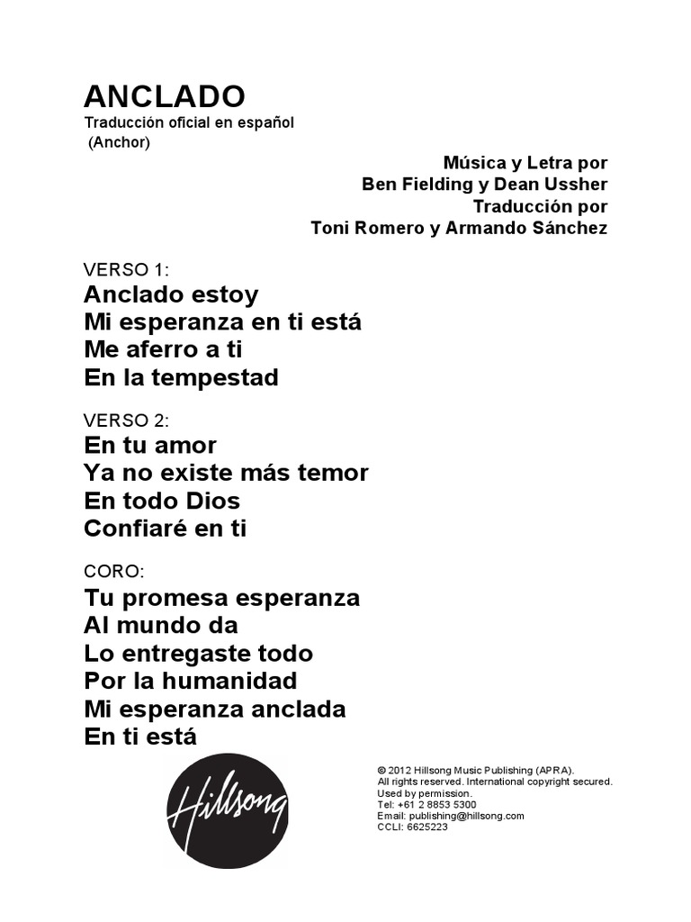 Anchor Spanish Official Translation