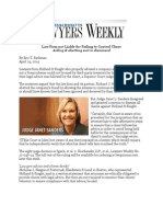 Massachusetts Lawyers Weekly 4.24.14 Law Firm Not Liable for Failing to Control Client