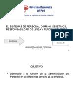 Semana 05 Sistemas de Personal o Rr.hh Objetivos Responsabilidad de Linea y Funcion Staff