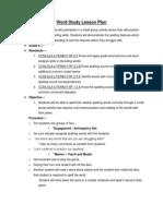 word study lesson plan