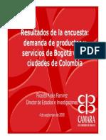 4743 Resultados de La Encuesta Demanda de Productos y Servicios de Bogota en 10 Ciudades de Colom