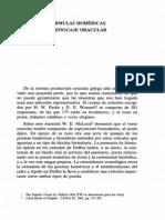 Fórmulas Homéricas y Lenguaje Oracular