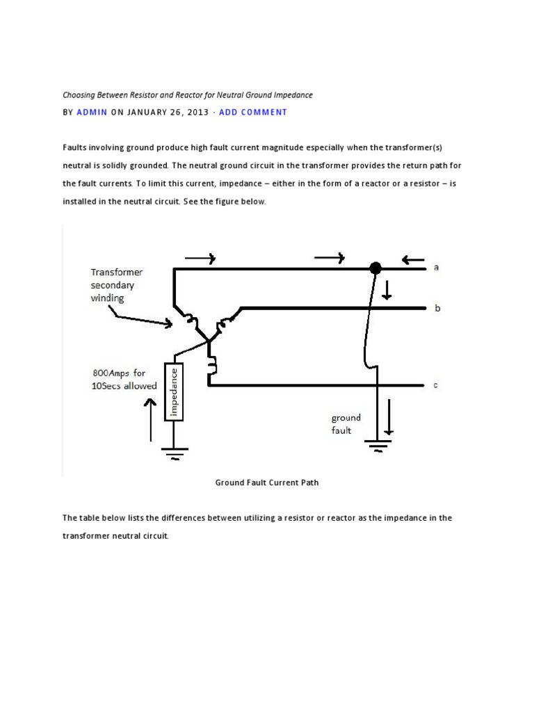 neutral ground resistor wiring diagram all wiring diagram Neutral Ground Resistor Theory choosing between resistor and reactor for neutral ground impedance variable resistor diagram neutral ground resistor wiring diagram