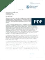 Michael Chertoff Letter to Senator Christopher (June 14, 2007)