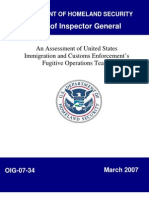 DHS OIG - An Assessment of U.S. Immigration and Custom Enforcement's Fugitive Operations Teams (March 2007)